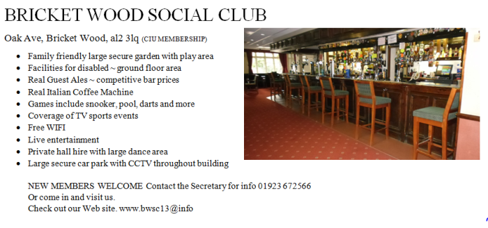 bricketwood social club